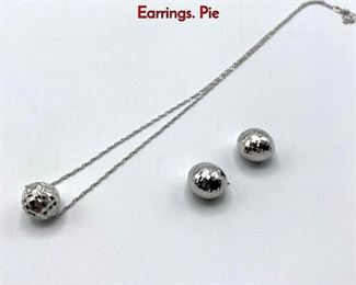 Lot 45 3pc 14K White Gold Ball Pendant Necklace, Earrings. Pie