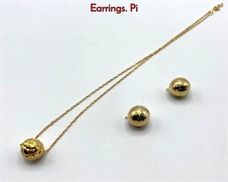 Lot 46 3pc 14K Yellow Gold Ball Pendant Necklace, Earrings. Pi
