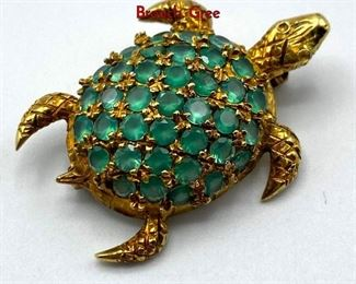 Lot 51 18K Gold Gemstone encrusted Figural Turtle Brooch. Gree
