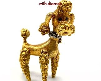 Lot 52 18K Gold Figural Poodle Brooch. Moving head with diamon