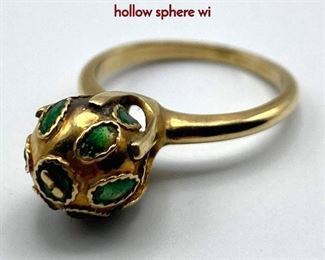 Lot 55 14K Gold Enamel Ball Ladies Ring. Gold hollow sphere wi