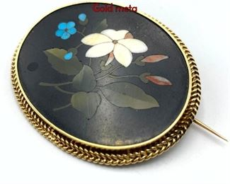 Lot 58 Italian Floral Pietra Dura Framed Brooch Pin. Gold meta