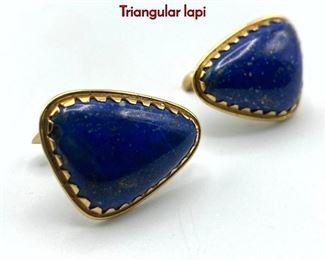 Lot 59 Gold Lapis Lazuli Custom Cufflinks 14k. Triangular lapi