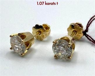 Lot 61 Pr 14K Yellow Gold Diamond Stud Earrings. 1.07 karats t