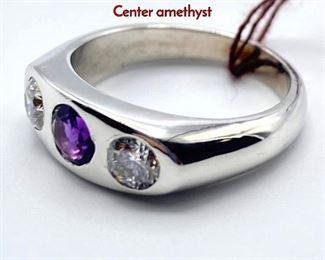 Lot 62 14K Gold Amethyst  Diamond Gypsy Ring. Center amethyst