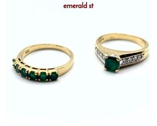 Lot 63 2pc 14K Gold Emerald Ladies Rings. 1 Square emerald st