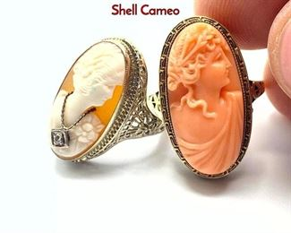 Lot 64 2pc 14K Gold Carved Cameo Ladies Rings. 1 Shell Cameo
