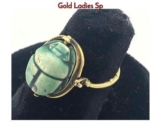 Lot 65 Antique Faience Scarab Gold Ladies Ring. Gold Ladies Sp