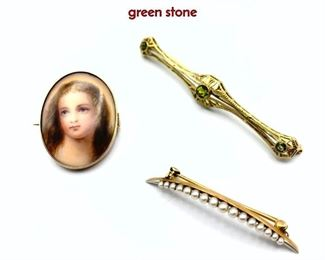 Lot 67 3pc 14K Gold Pins Brooches. 1 Bar Pin with green stone