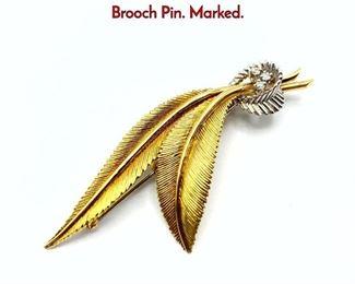 Lot 72 DANFRERE 14K Gold  Diamond Leaf Brooch Pin. Marked.