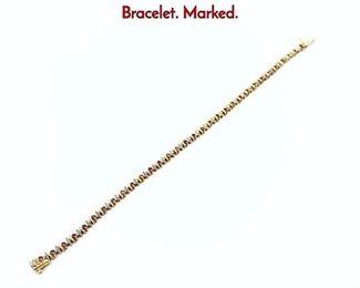 Lot 73 14K Gold Ruby  Diamond Tennis Bracelet. Marked.