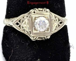 Lot 74 18K White Gold Ladies Single Diamond Ring. Engagement R