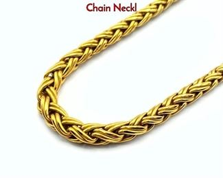 Lot 78 18K Fortunoff Necklace. Yellow Gold Twisted Chain Neckl