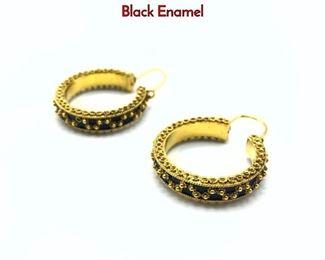 Lot 79 Pr 18K Gold Large Hoop Pierced Earrings. Black Enamel