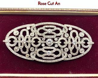 Lot 81 Platinum Diamond Large Brooch Pin. Single  Rose Cut An