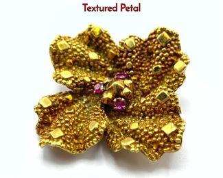 Lot 85 TIFFANY 18K Gold Ruby Floral Brooch Pin. Textured Petal