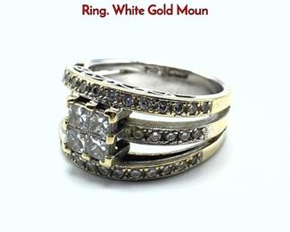Lot 86 18K Gold FORTUNOFF Diamond Ladies Ring. White Gold Moun