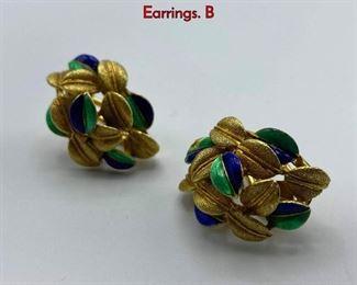 Lot 87 Italian 18K Gold  Enamel Earrings. Clip on Earrings. B