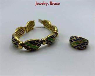 Lot 88 2pc 18K Gold Blue  Green Enamel Italian Jewelry. Brace
