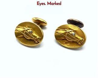 Lot 89 Pr 14K Gold Horse Head Cuff Links. Diamond Eyes. Marked