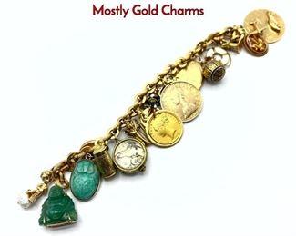 Lot 90 18K Gold Charm Bracelet. Large Heavy Mostly Gold Charms