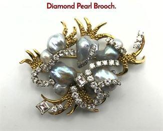Lot 92 ENRICO SERAFINI Italian 18K Gold Diamond Pearl Brooch.