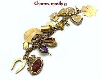 Lot 96 14K Gold Charm Bracelet. Heavy Vintage Charms, mostly g