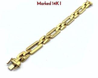 Lot 100 14K Gold Bracelet. Long rectangular links. Marked 14K I