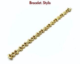 Lot 101 14K Yellow Gold Italian Modernist Link Bracelet. Stylis