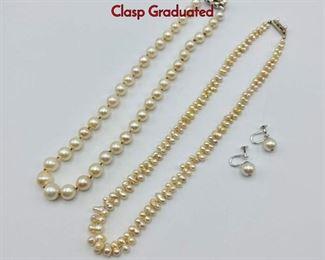 Lot 104 4pc Pearl Jewelry. 1 14K Gold Diamond Clasp Graduated