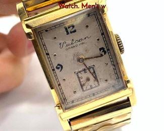 Lot 108 Vintage 14K Gold VULCON Grand Prix Wrist Watch. Mens w