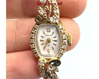 Lot 111 Ladies 14K Gold Vintage HAMILTON Watch. Small face wit