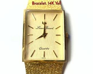 Lot 115 Vintage LUCIEN PICARD 14K Gold Watch Bracelet. 14K Yell