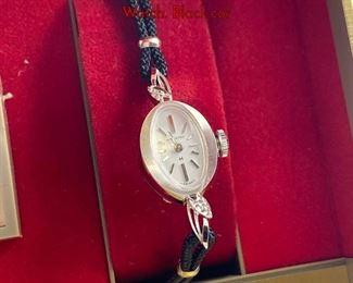 Lot 118 Vintage HAMILTON Ladies 14K White Gold Watch. Black cor