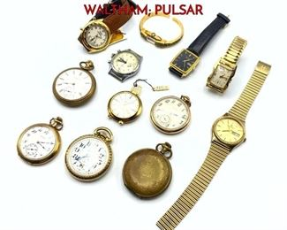 Lot 121 12pc Vintage Timepieces Watches. ELGIN WALTHAM PULSAR