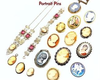Lot 123 18pc Costume Jewelry Lot. Mostly Cameos  Portrait Pins