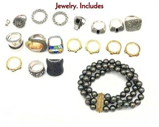 Lot 127 18pc Sterling Silver Assorted Ladies Jewelry. Includes