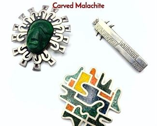 Lot 131 3pc Sterling Silver Brooches. Vintage. Carved Malachite