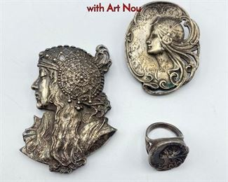 Lot 135 3pc Sterling Art Nouveau Jewelry. Two pins with Art Nou