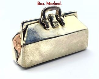 Lot 137 TIFFANY  Co Sterling Silver Doctors Bag Box. Marked.