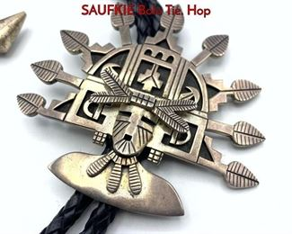 Lot 139 Sterling Native American LAWRENCE SAUFKIE Bolo Tie. Hop