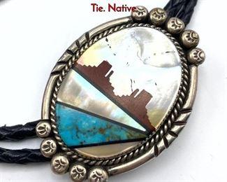 Lot 140 Sterling Silver Inlaid Butte Landscape Bolo Tie. Native