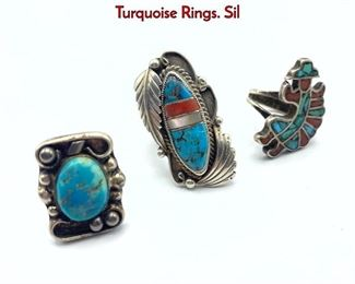 Lot 141 3pc Native American Indian Vintage Turquoise Rings. Sil