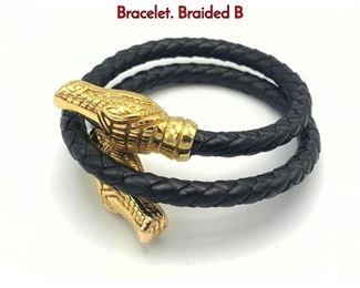 Lot 144 18K Gold Leather OTC Alligator Head Bracelet. Braided B