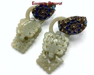 Lot 146 Pr Vintage Chinese Carved Jade Dangle Earrings. Decorat