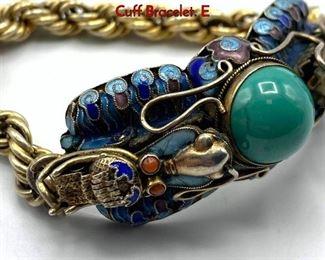 Lot 147 Vintage Chinese Enamel  Silver Dragon Cuff Bracelet. E