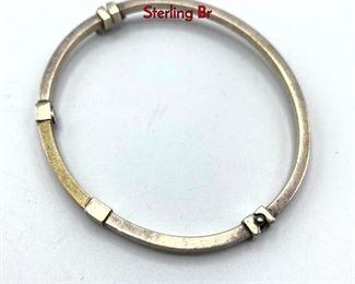 Lot 148 Sterling  14K Gold Bangle Bracelet. Hinged Sterling Br