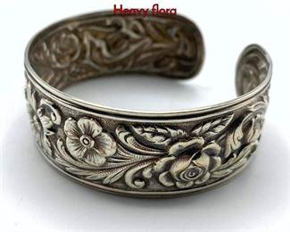 Lot 151 S KIRK  SON Sterling Silver Cuff Bracelet. Heavy flora