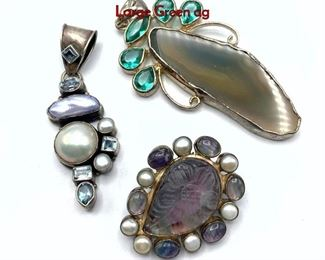 Lot 152 Lot 3 Sterling Silver Gemstone Pendants. Large Green ag