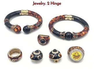 Lot 155 7 Pc Designer Tortoise Enamel Sterling Jewelry. 2 Hinge